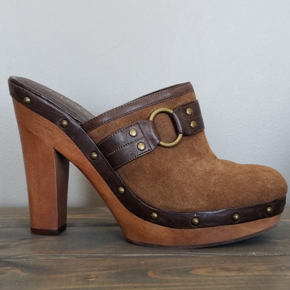 LAUREN Ralph Lauren leather, suede, wood mule sz 9